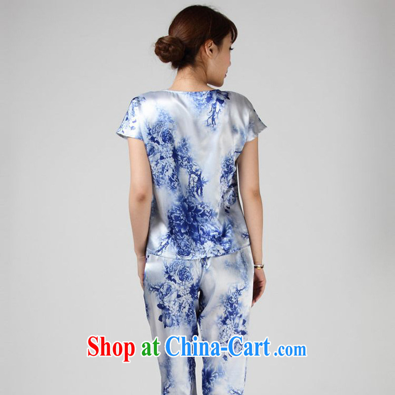 Forest narcissus summer 2014, special offers true silk T shirt blue and white porcelain stamp Chinese T-shirt S 7 - 862 blue and white porcelain XXL, forest narcissus (SenLinShuiXian) outfit,/Tang, and shopping on the Internet