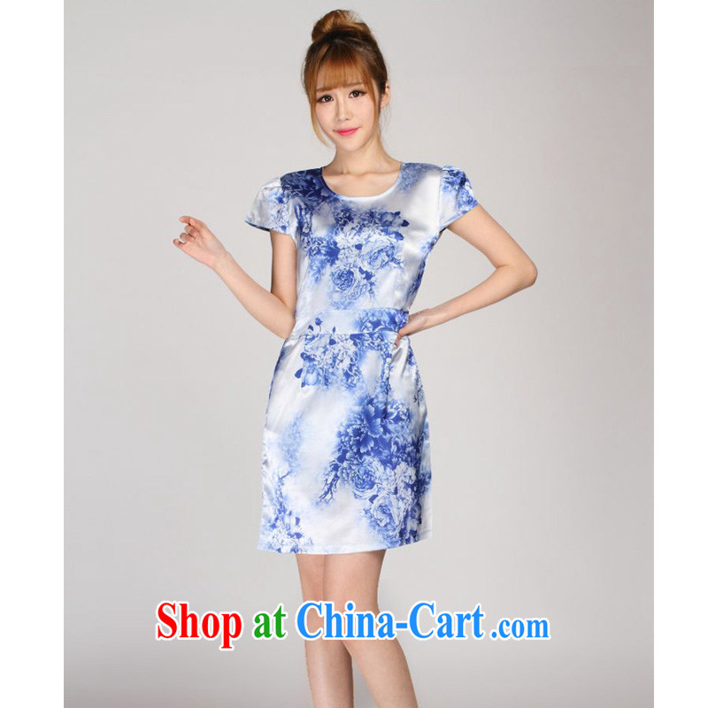 Forest narcissus 2014 summer new blue and white porcelain China wind really silk stamp Chinese Dress S 7 - 865 blue and white porcelain XXL