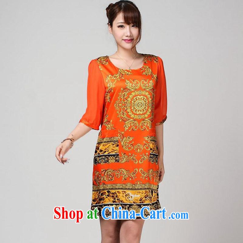 Forest narcissus 2014 summer new special offers, snow-woven cuffs stamp really Silk Cheongsam dress S 7 - 867 orange XXXL