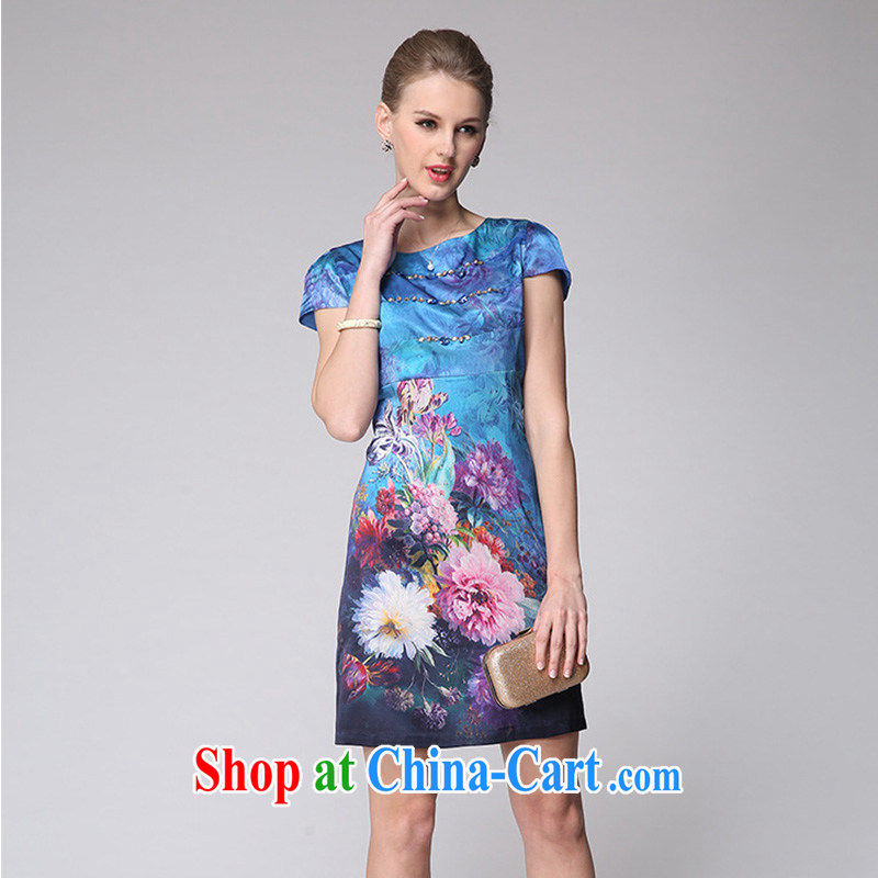 Forest narcissus 2014 summer new stamp Silk Cheongsam sauna silk short-sleeved round-collar dresses M 7 - 6011 blue XXXL