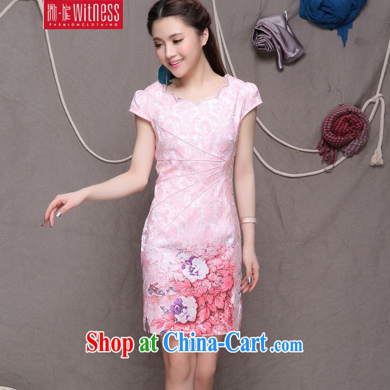 Micro-Session (witness) 2014 National wind stylish Chinese qipao dress retro beauty graphics thin dresses women 9902 pink XXL