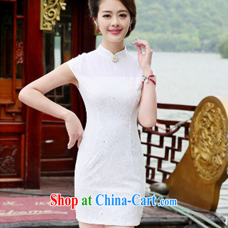 The Concubine Shu Diane 2014 new bridal dresses serving toast elegant classic style improved temperament short Chinese qipao dress white XXL