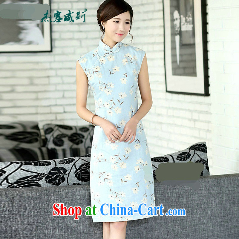 Jessup, new, fragrant flowers, Korea, improved female, for manually for a sleeveless, long necks, cotton the cheongsam dress燙QP 394 sleeveless Orchid XXL
