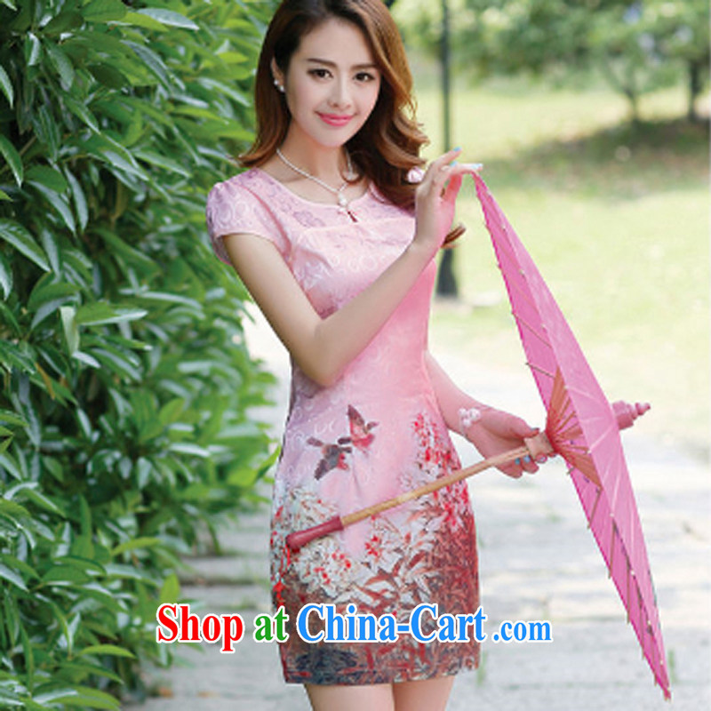 The Concubine Shu Diane 2014 new summer style wedding dress Peony floral beauty and elegant Chinese qipao pink XXL