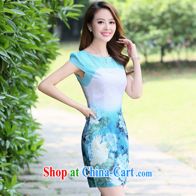 The Concubine Shu Diane 2014 new summer Chinese Antique dress elegance peony flower cultivation video thin dresses blue XXL