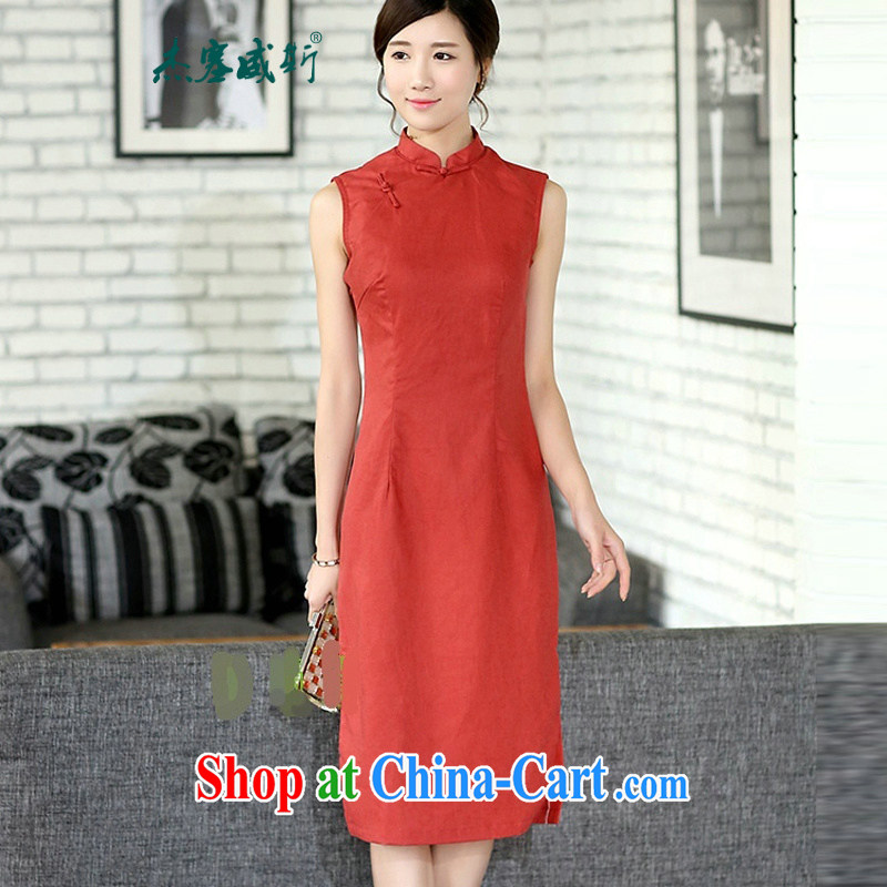 Jessup, new female improved retro arts and cultural_elegant OL linen sleeveless long cheongsam dress Solid Color dresses skirt orange sleeveless XXL