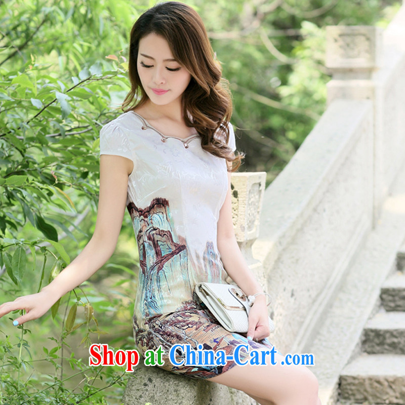 The Concubine Shu Diane 2014 new chinese daily dresses and stylish improved Chinese China retro dresses skirt deep card its color XXL