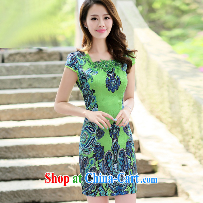 The Concubine Shu Diane 2014 ladies new ethnic wind Chinese half sleeve Chinese Embroidery ink retro beauty graphics thin cheongsam dress green XL