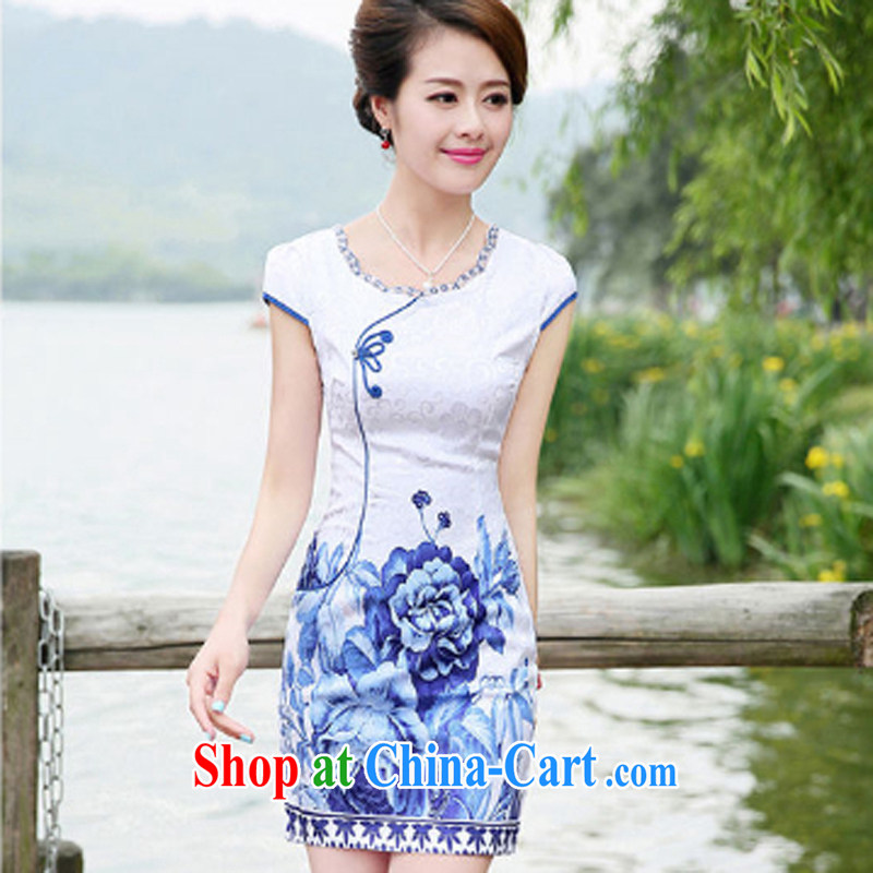 The Concubine Shu Diane 2014 summer new daily retro blue and white porcelain Tang with stylish and refined elegance dresses cheongsam blue floral XXL
