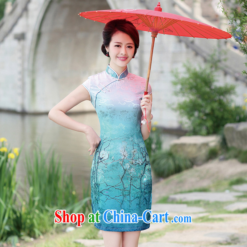 The Concubine Shu Diane 2014 summer new ethnic-Chinese beauty charm antique dresses skirt dress blue XL