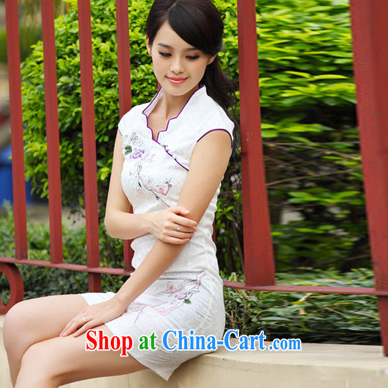 Micro-Session (witness) summer 2014 new stylish short retro stamp cultivating cheongsam dress female A 6901 white XL, micro-session (witness), online shopping