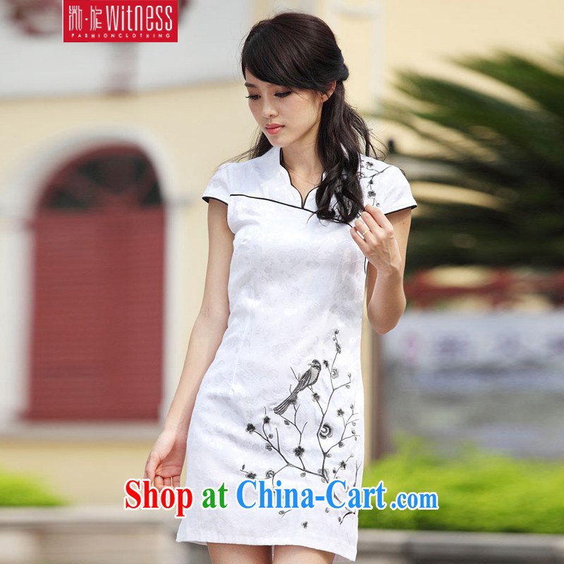 Micro-Session (witness) 2014 summer dresses China wind embroidery sexy dress retro dress A 6903 black and white XL