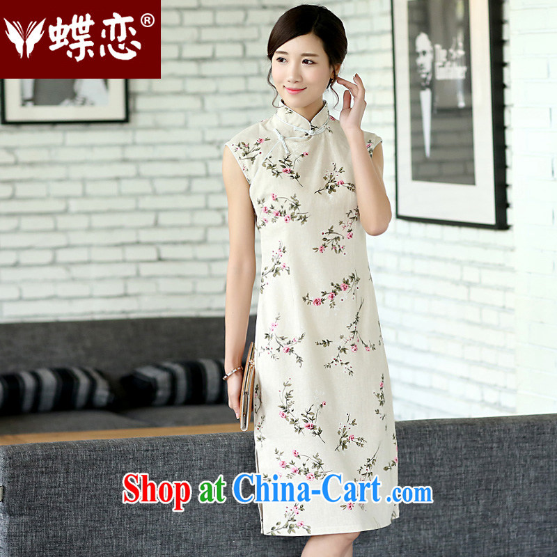 Butterfly Lovers 2015 spring new Ethnic Wind antique dresses stylish improved hand-buckle long cotton the cheongsam dress 40,152 Jenny XXL