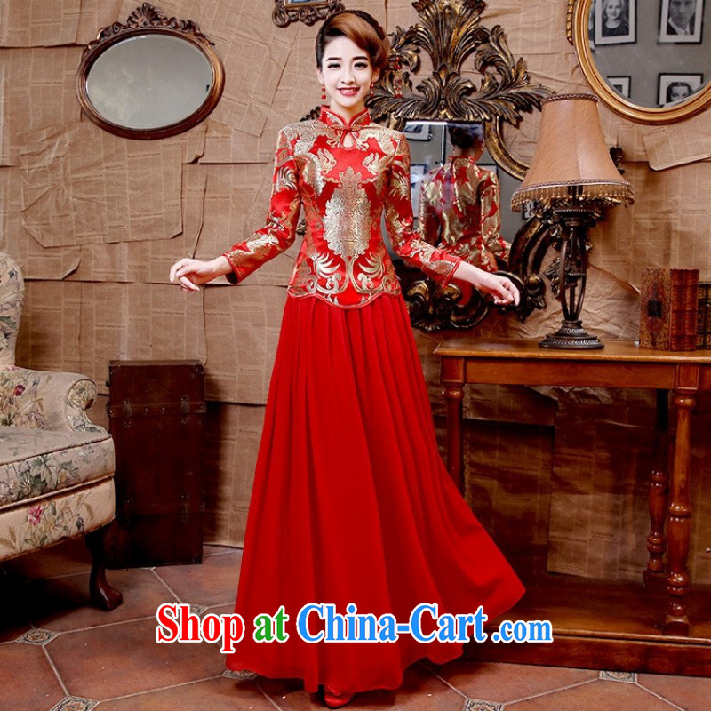 2015 Shen Long, refreshing floral cheongsam improved stylish different wedding dresses Q 5129 red customer service to size up to do not support returned.
