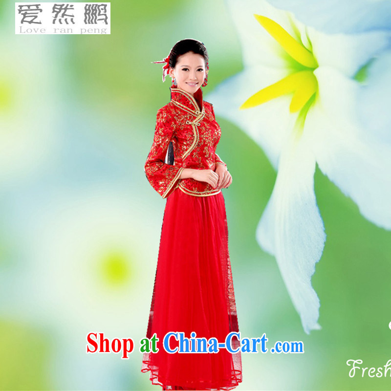 On-chip 4 leaf flower cheongsam dress long-sleeved quilted wedding dresses winter clothing fall 2015 with new red customer service to size the Do Not Support Replacement