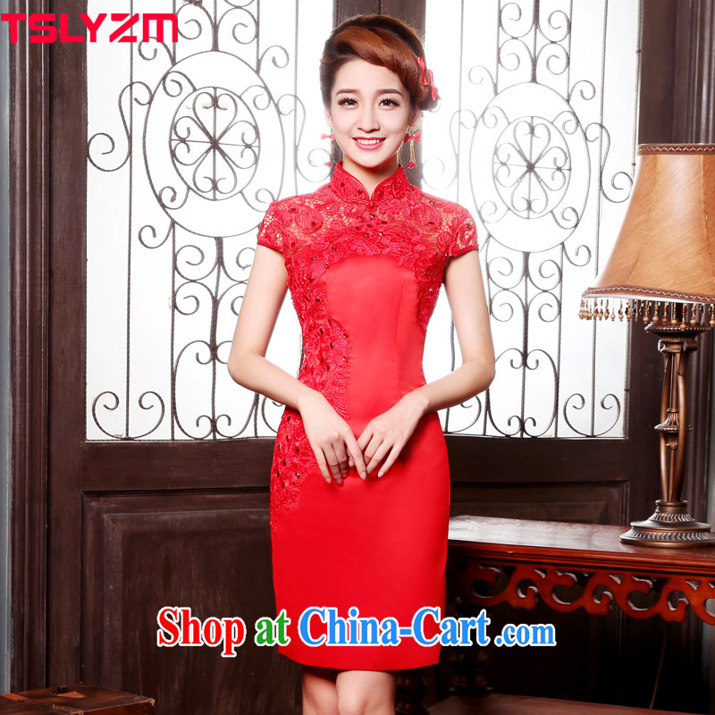 The angels, according to 2015 new dresses bridal wedding dress retro improved stylish short red toast clothing cheongsam lace bridal back door service Classic red XXXL