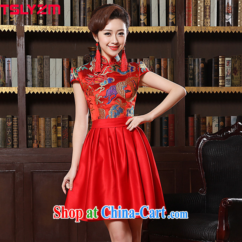 The angels, according to 2015 spring and summer new wedding dress long-sleeved pregnant women improved cheongsam red bridal toast clothing cheongsam short red cheongsam dress embroidery Red Red XXXL