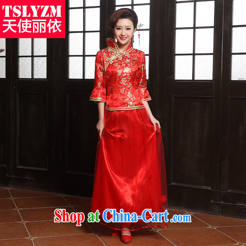 Tslyzm 2015 new bride replacing summer bows outfit serving the door serving small Fengxian etiquette marriage dresses retro improved red cheongsam dress red XXL