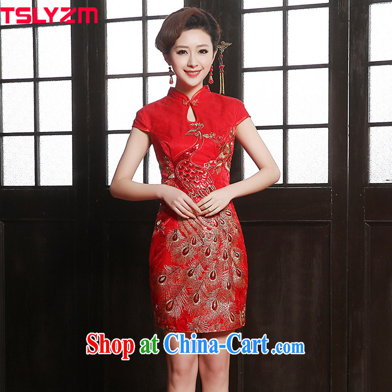 Tslyzm 2015 new Chinese Embroidery short cheongsam beauty bridal wedding dress toast serving short-sleeve cheongsam Phoenix improved dresses red XXXL