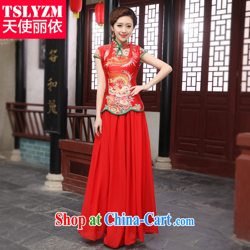 The angels, according to summer dresses dresses bridal wedding toast clothing snow woven red long Chinese improved short-sleeved dresses skirt new retro style red XXXL
