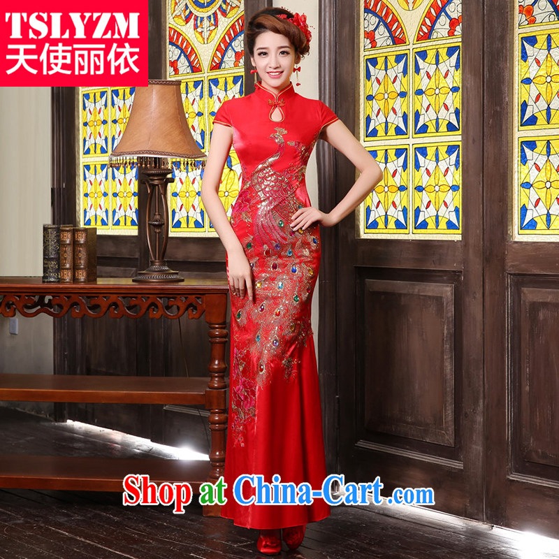 Tslyzm 2014 new wedding red toast serving marriages long cheongsam dress retro-style service improved cheongsam dress female Red XXXL