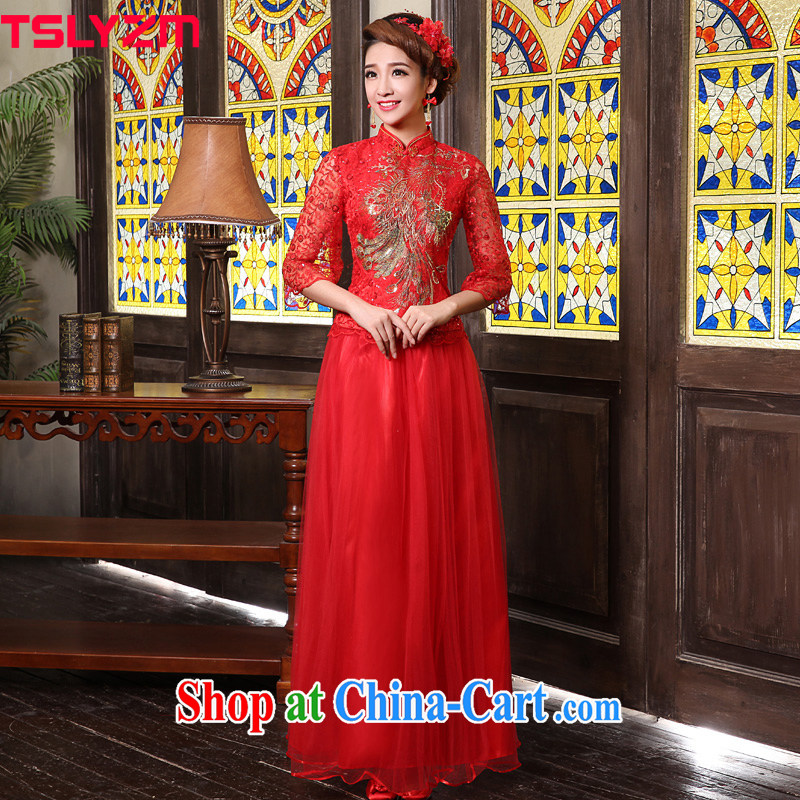 Tslyzm 2015 new Chinese bridal gown embroidery, lace red bows clothes dresses bridal back door service stylish improved cheongsam dress red XXXL