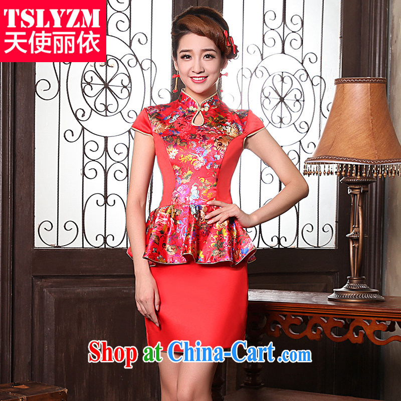 2014 Tslyzm new short marriage, antique dresses winter long-sleeved warm bride toast clothing red dress stylish improved dresses red XXXL