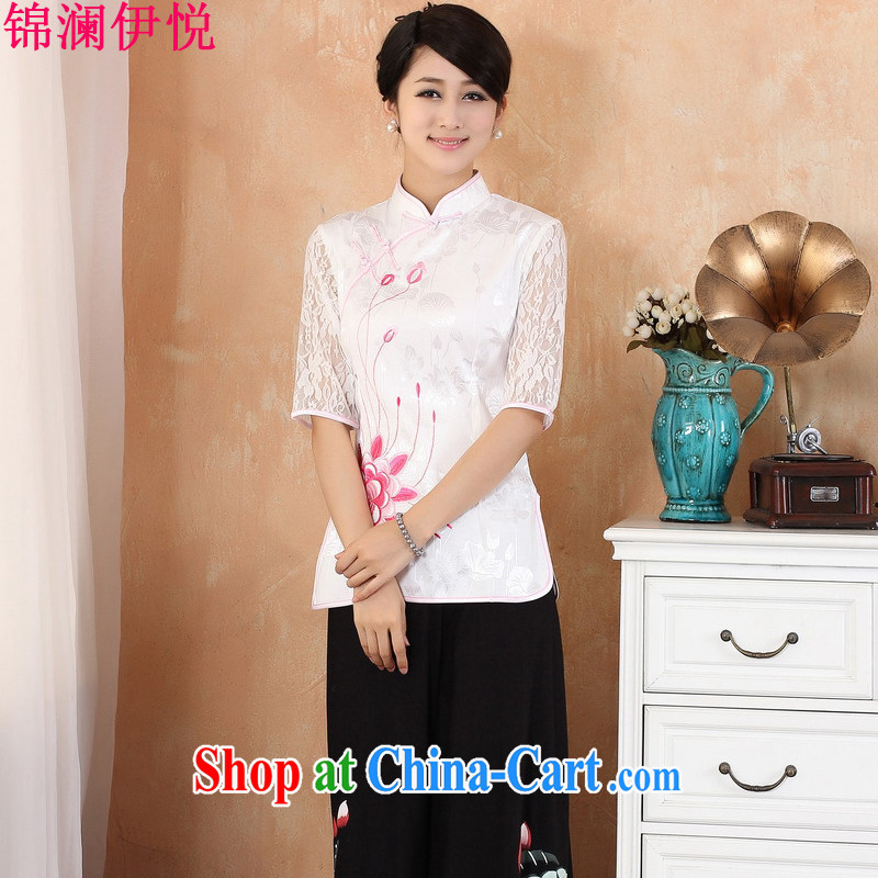 Kam-world the Hyatt summer new female lady sweet taste of antique Chinese wind flouncing embroidery flowers improved cheongsam shirt retro van dresses T-shirt pink 3XL