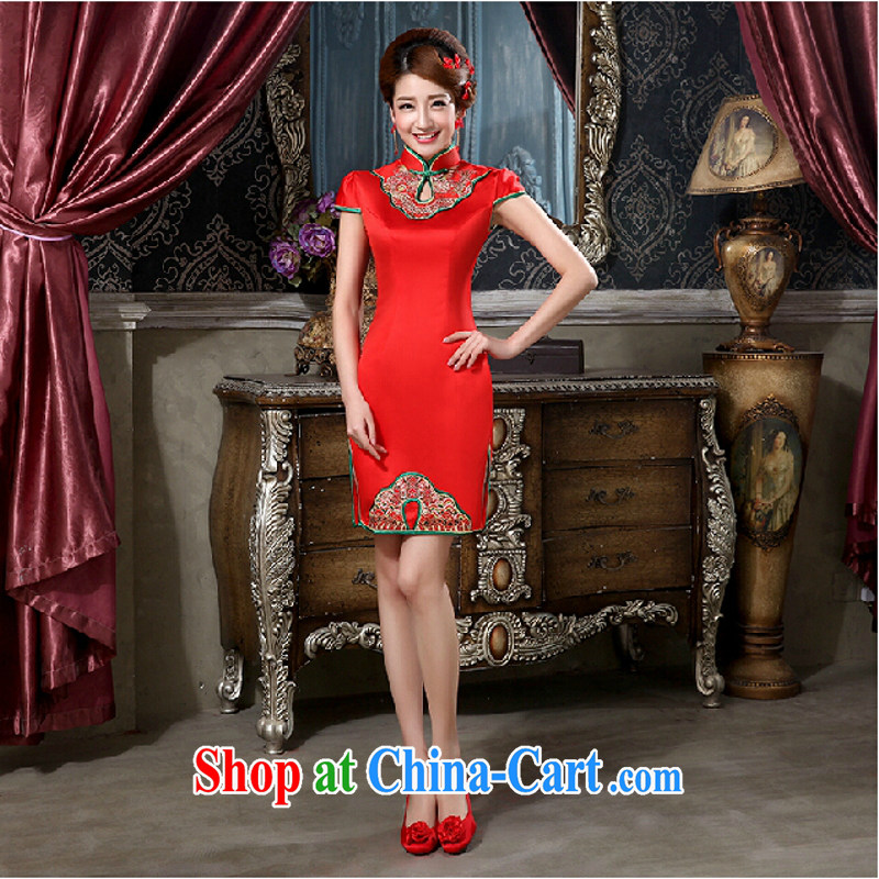 In accordance with the dresses wedding dresses new 2015 red bridal toast serving short wedding dress improved high on the truck dresses long red long. size is not returned.