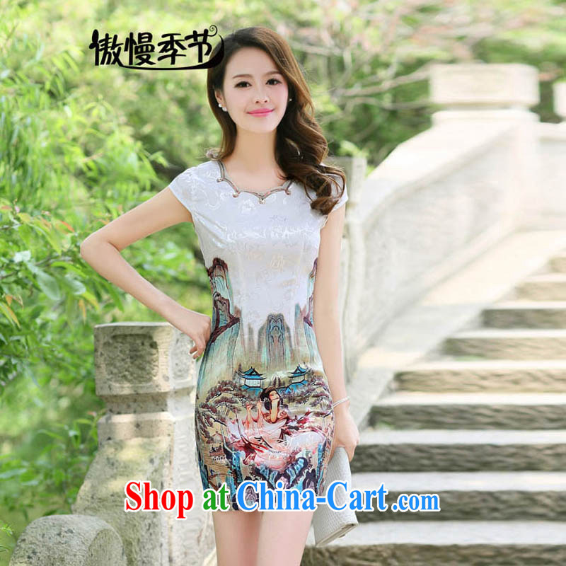 Arrogant season 2015 summer new cheongsam dress dress long girls lace embroidery-skirt gold beauty figure M
