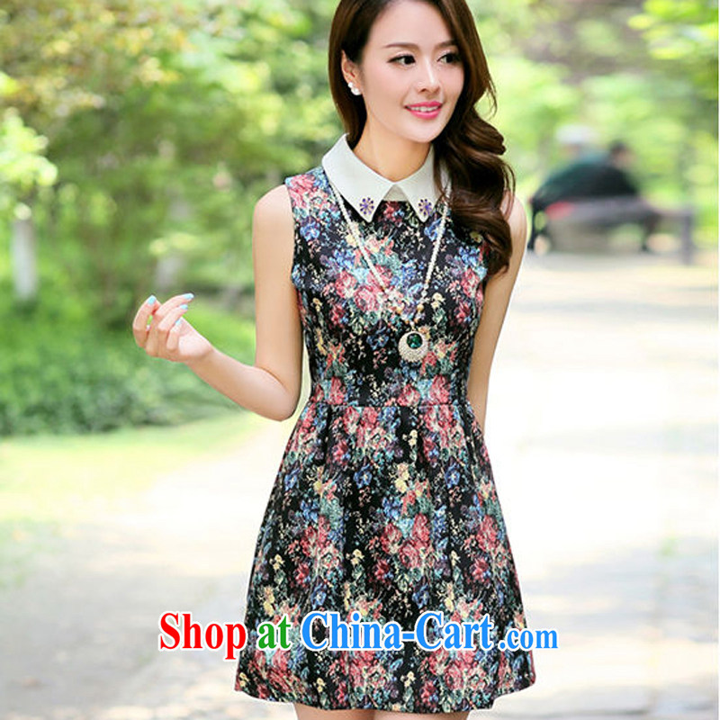 Arrogant season 2015 summer new larger beauty graphics thin China wind's shirt collar vest skirt dresses, dresses black flower XXL