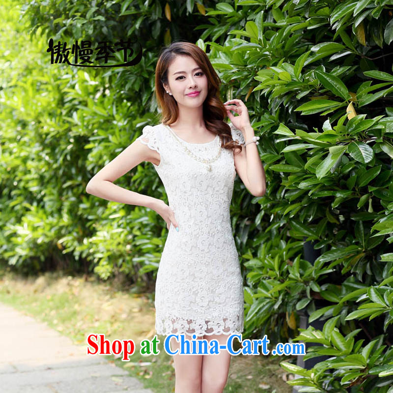 Arrogant season 2015 summer new Korean Beauty lace short-sleeved dresses cheongsam-A Field dress dress white XL