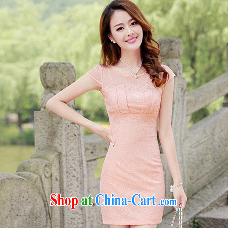 2014 summer new women dress elegance lace stitching package beauty skirt video thin OL package and dresses pink XXL