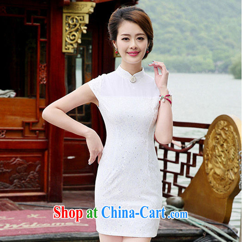 Arrogant season 2014 summer new retro cheongsam dress beauty lace bridal wedding dress Chinese cheongsam dress white M