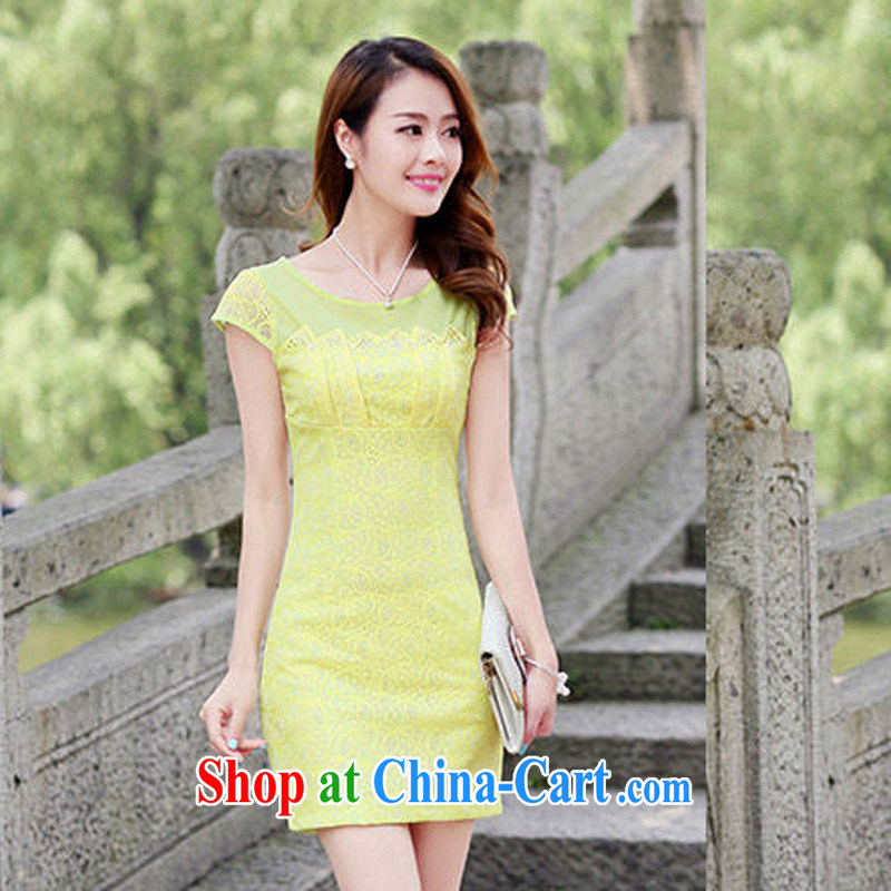 Arrogant season 2015 summer new women dress elegance lace stitching package beauty skirt video thin OL package and dresses yellow XXL