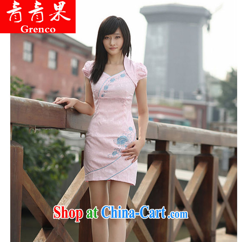2014 improved cheongsam sweet-fresh fake two-piece-pink dresses XL