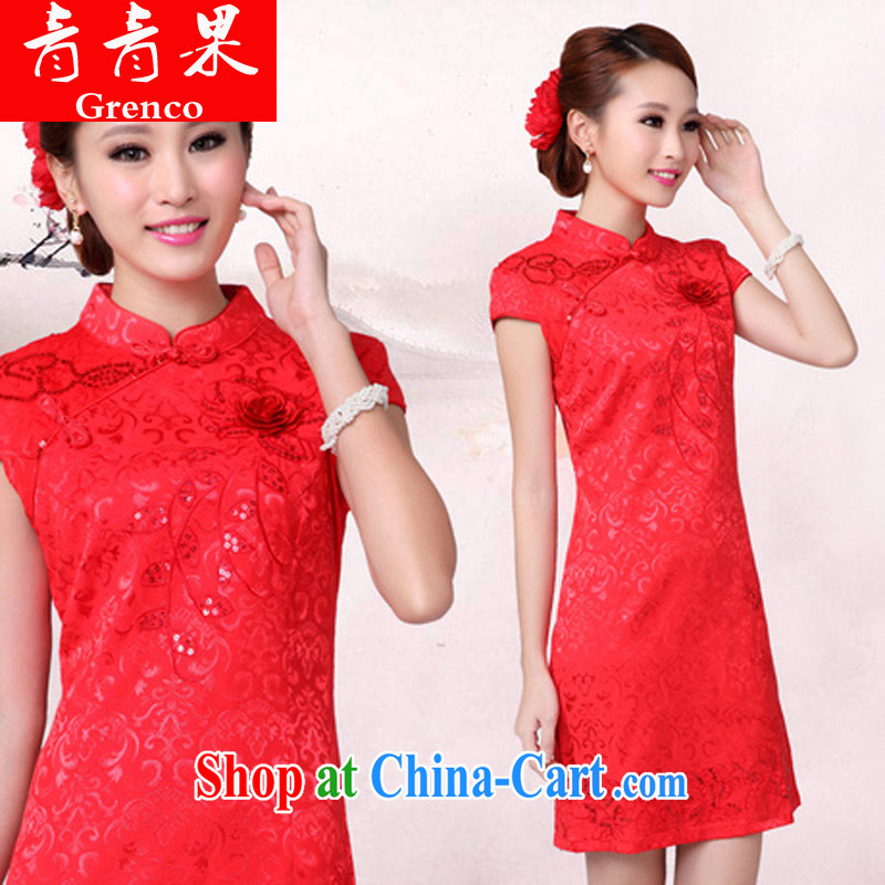 Fruit 2014 wedding dresses serving toast new summer red wedding dress high collar dress cheongsam red XS