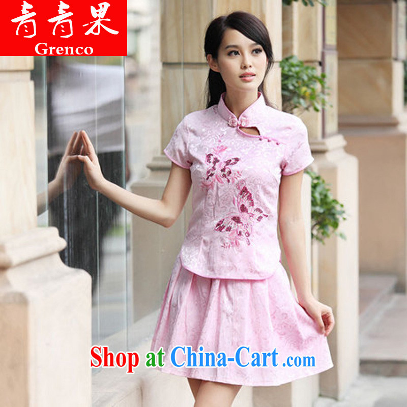 2014 summer new outfit Kit elegant retro fresh Chinese to Butterfly cheongsam dress set pink L