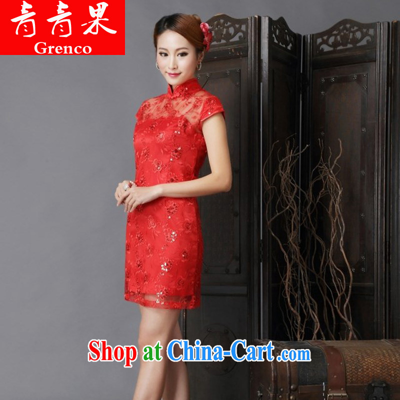 Fruit 2014 new show annual wedding dress bridal wedding retro improved red bows outfit serving red XL