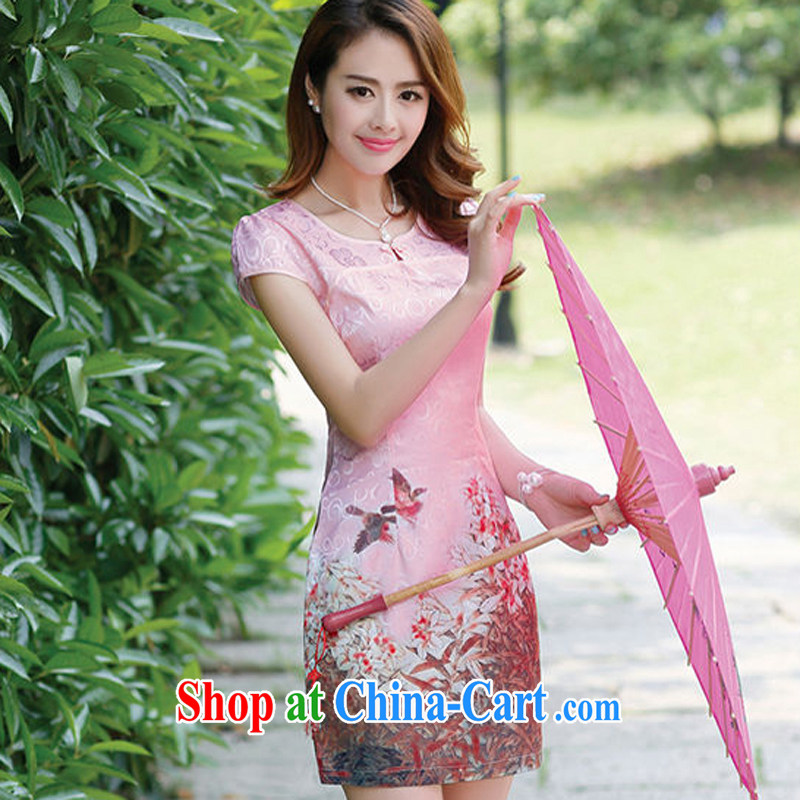 Arrogant season 2015 new cheongsam dress girls summer blue and white porcelain long girls lace embroidery pink XL