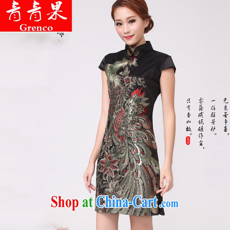 Fruit 2014 new Peacock hot Peacock embroidery cheongsam festive wedding dresses mother improved black XL