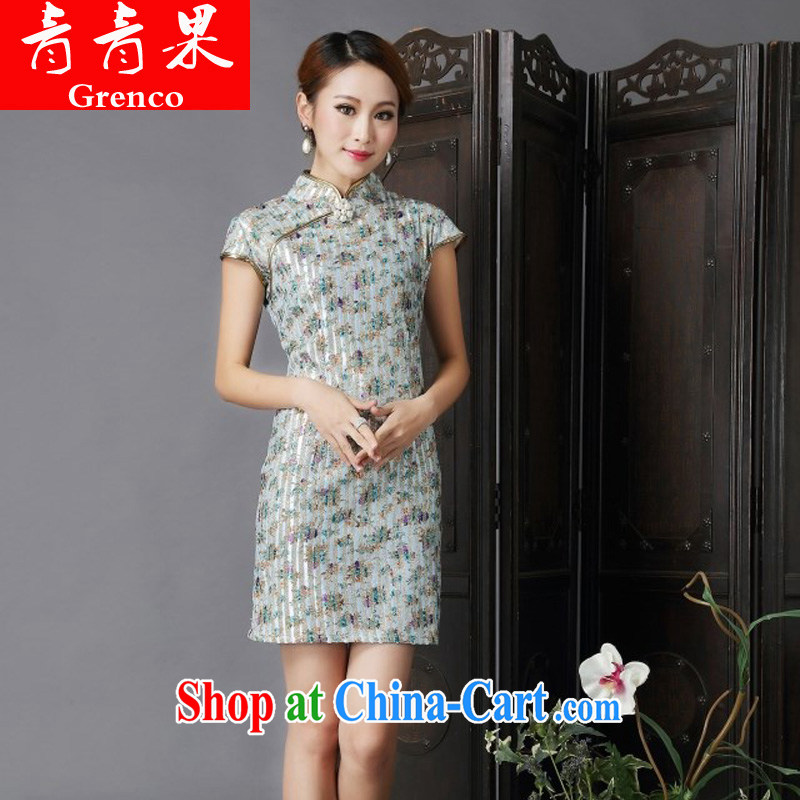 Fruit 2014 new show annual marriage dresses retro improved fancy toast serving daily short cheongsam dress suit green XL