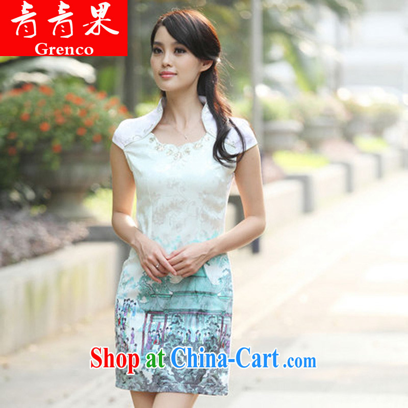 2014 summer fashion beauty improved national wind outfit retro dresses dresses short dresses Indigo color XL