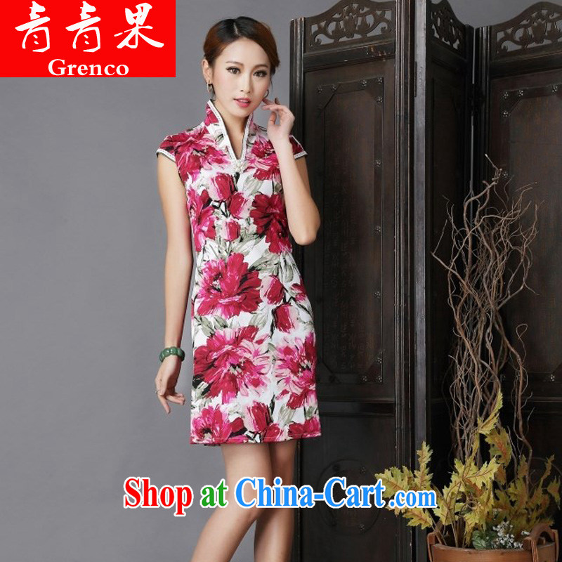Fruit 2014 New floral cheongsam dress stylish improved Chinese qipao fancy XL