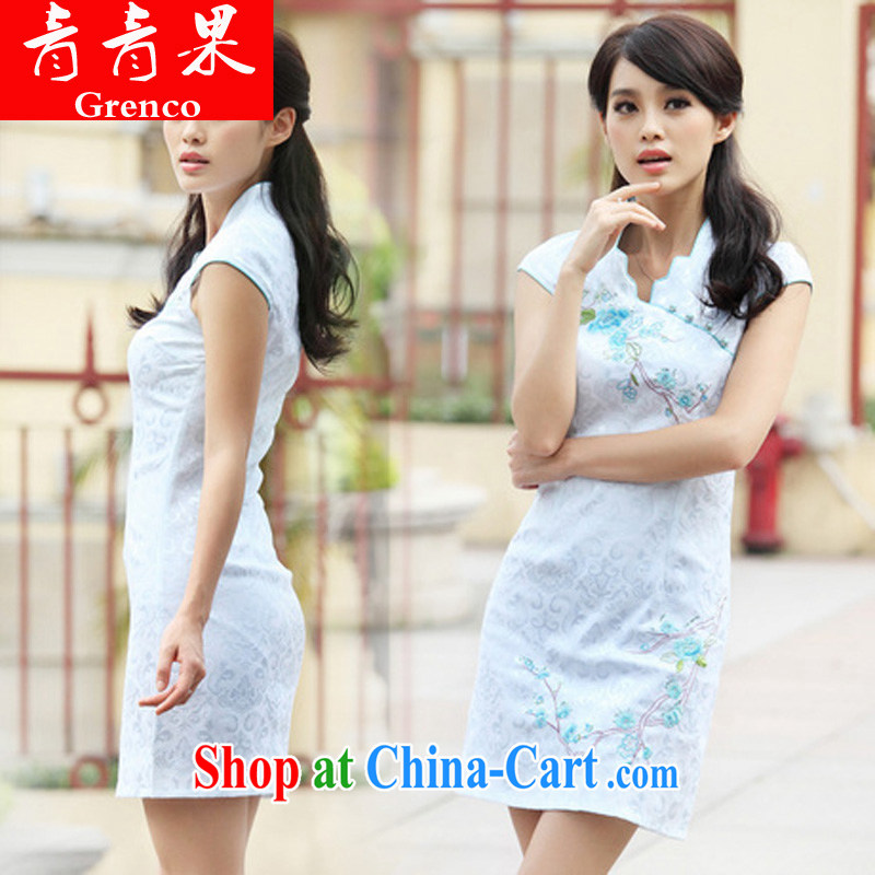 Summer 2014 new stylish short retro stamp duty cultivating cheongsam dress skirt pink XL
