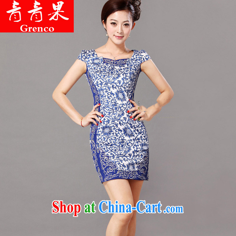 Retro Lotus blue and white porcelain goods improved summer 2014 new Chinese embroidered short cheongsam dress picture color XL