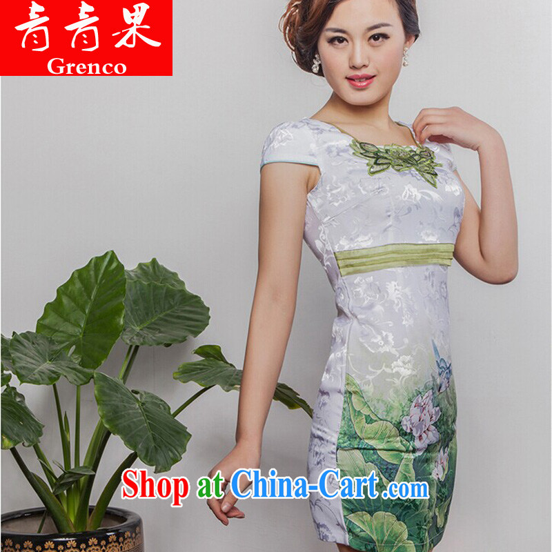 2014 new summer with stylish and elegant beauty improved cheongsam green XL
