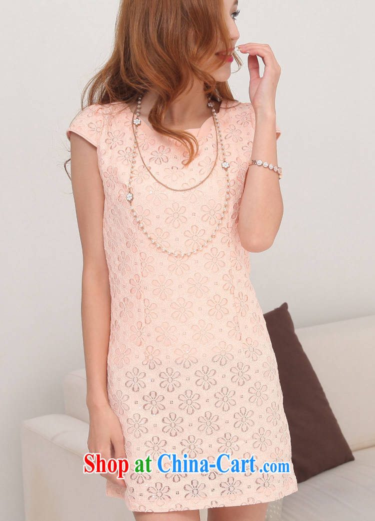 2014 summer new improved Stylish retro short cheongsam dress lace pink XXL pictures, price, brand platters! Elections are good character, the national distribution, so why buy now enjoy more preferential! Health