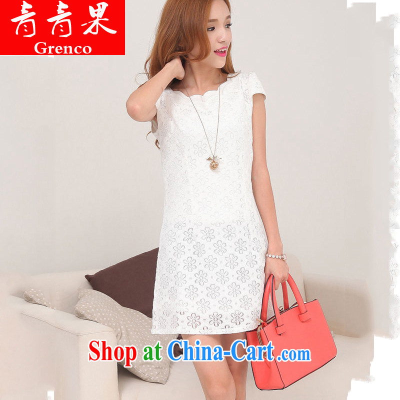 2014 summer new improved Stylish retro short cheongsam dress lace pink XXL