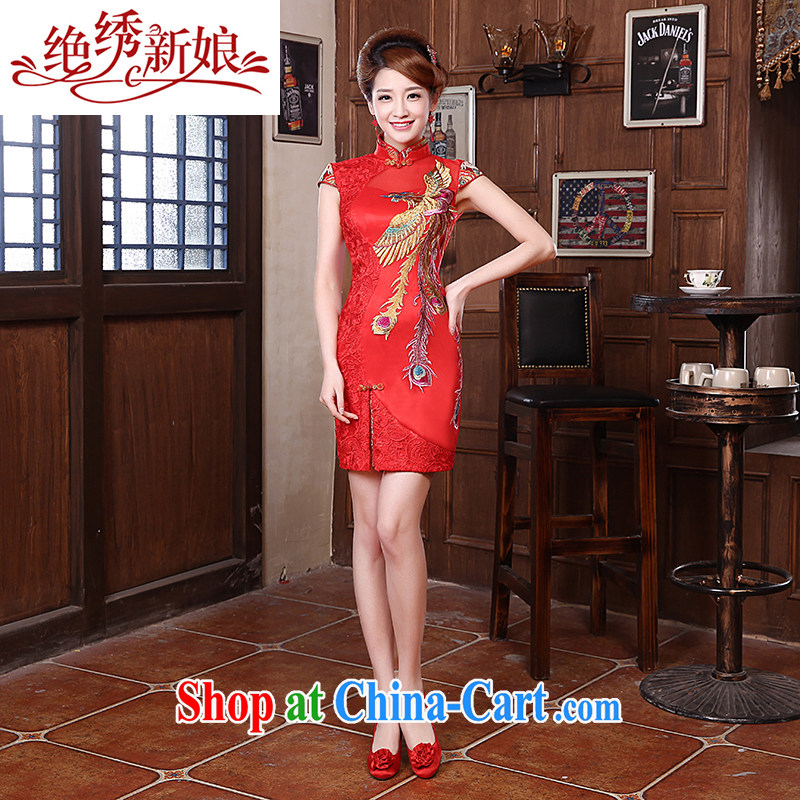 There is embroidery bridal 2015 summer red improved short dresses bridal dresses serving toast toast wedding clothes lace cheongsam red L Suzhou shipping